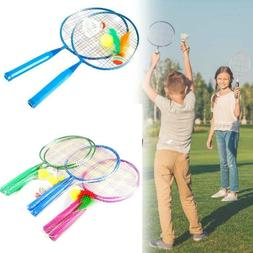 1 Pair Badminton Tennis Rackets Balls Set Children Kids Outd