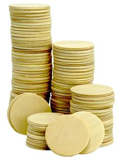 100 Pack -1.5 Inch Round Wood Cutout Circle Chips for Crafts