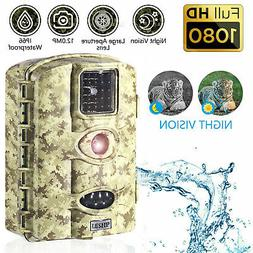 12MP Trail Camera Deer Bear Hunt Game Cam Low Glow Night Vis