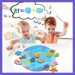 16 PC Magnetic Wooden Kids Fishing Game For 2 3 4 5 6 Years