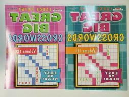 2 New Large Print Great Big Crosswords Puzzle Books Vol#  10