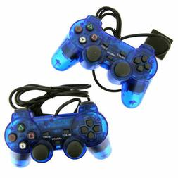 2X Blue Twin Shock Game Controller Joypad Pad for Sony PS2 P