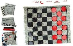 3 in 1 Giant Checkers Set – Calssic Indoor Outdoor Yard Ga