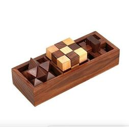 3 in One Wooden Puzzle Games Set 3D Puzzles for Teens and Ad