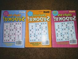 3 New Dell Crazy For Sudoku Puzzle Books Number Puzzles