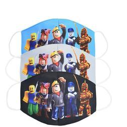 3 pcs Kids Size Roblox Comic Cartoon Cartoon Cotton Masks Ha