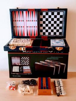 6-in-1 Game Set Dominoes Chess Checkers Cribbage Backgammon