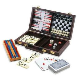 6 In 1 Travel Game Set Chess, Checkers, Backgammon, Cribbage