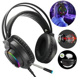RGB LED 7.1 Gaming Headset Stereo Surround Sound Mic Headpho