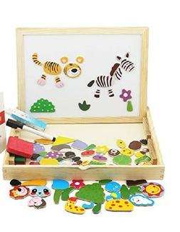 Animals Puzzle Wooden Educational Toys Magnetic Art Ease Gam