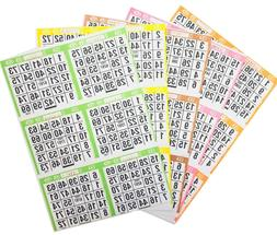 Bingo Paper Cards 125 Assorted 6 on Single Sheets with FREE
