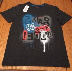 Boys Cat & Jack Graphic Black T-shirt  L  12-14 NWT Game On