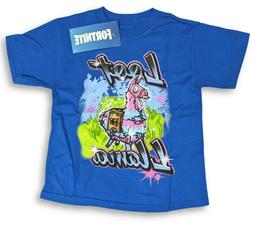 Boys Fortnite Shirt Loot Llama Blue Youth Kids Video Game Te