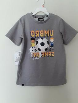 Boys t-shirt  short sleeves brand Umbro NWT color gray