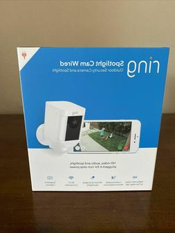 BRAND NEW! Ring Spotlight Cam Security Camera White WIRED -