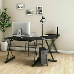 Computer Gaming Desk Wood Steel L-Shape Corner Laptop Table
