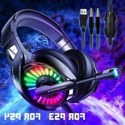 Ergonomic Gaming Headset LED Headphone w/Adjustable Headband