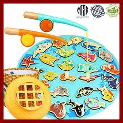 Fishing Game Toddler Toys Wooden Pole Set For 2 3 4 5 Year O