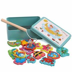 Fishing Toys Fun Magnetic Puzzle Game Children Baby Wooden P