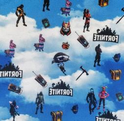 """Fortnite Polyester Fabric 1/2 Yard 18"""" X 60"""" Video Games New"""