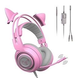 SOMIC G951s Pink Gaming Headset with Mic for PS4, Xbox One,