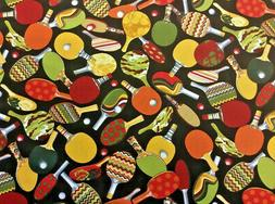 Games People Play Ping Pong Cotton Fabric  Benartex BY the Y
