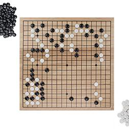 Go Set with Natural Wood Board and Complete Set of Stones
