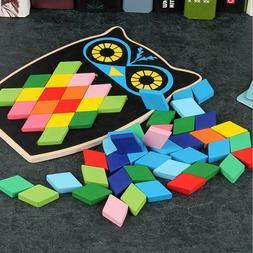 Kids Wood Building Blocks Montessori Puzzle Games Mosaic toy