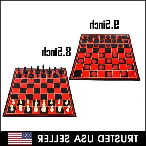 2 in 1 folding chess checkers set