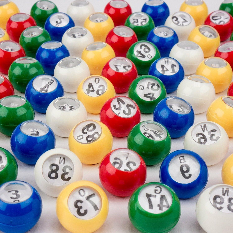 7/8-Inch Bingo Balls. Multi-Color Bingo with Easy Window