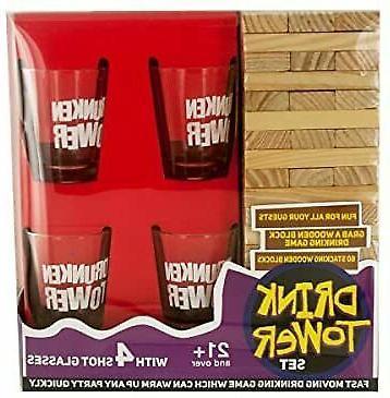 jenga drink tower with 4 shot glass