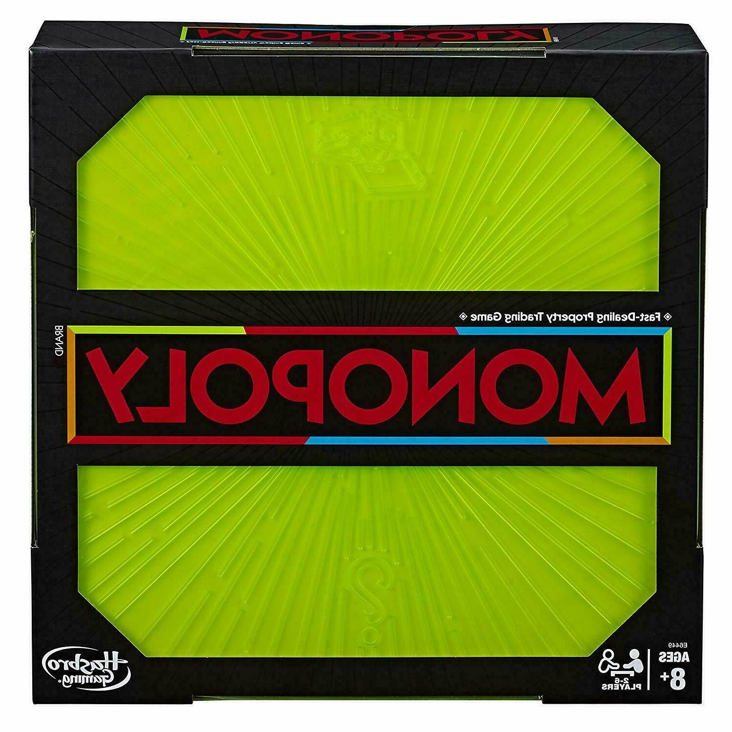 monopoly neon pop board game for kids