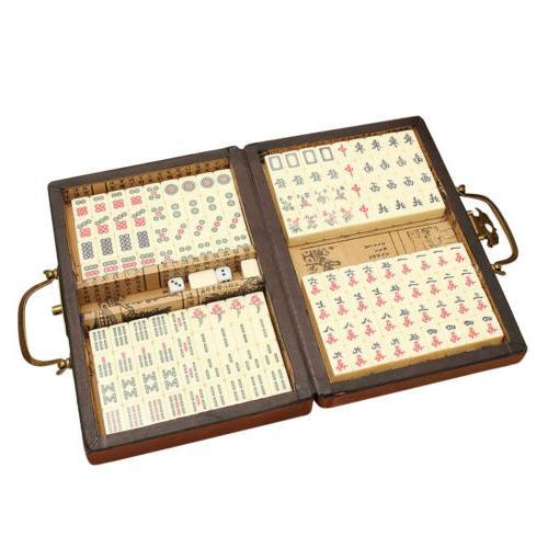 Portable Vintage Mahjong Chinese Set Toy Box