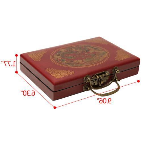 Portable Vintage Rare Chinese Tiles Mah-Jong Set W/ Leather Box