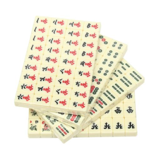 Portable Chinese 144 Tiles Set Toy W/ Leather Box