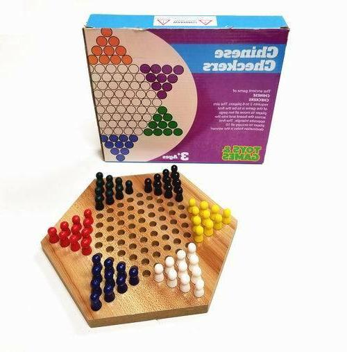 wood chinese checkers game with wooden pegs