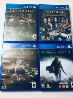 Lot Of 4 PS4 Games Injustice 1 & 2 Complete Editions, Shadow
