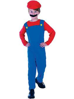 Mario Luigi Fancy Dress Plumber Workman Costume Boys Video G