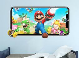 Mario Rabbits Wall Decal Video Game 3D Sticker Decor Mural V
