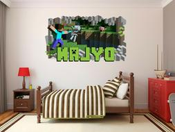 Minecraft Name Wall Hole 3D Decal Vinyl Sticker Decor Room P