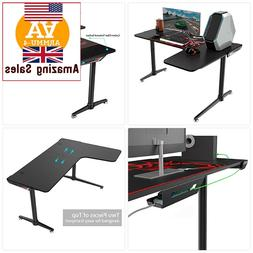 "NEW ERGONOMIC Gaming Desk 60"" X 43"" L Shaped Large Computer"