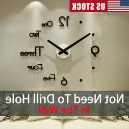 New Modern DIY 3D Large Wall Clock Mirror Surface Sticker Ar