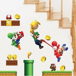 NEW Super Mario Games Wall Sticker For Kids Baby Boys Room H