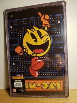 Pac-Man Tin Sign Arcade Wall Decor 12 x 8 Classic Retro