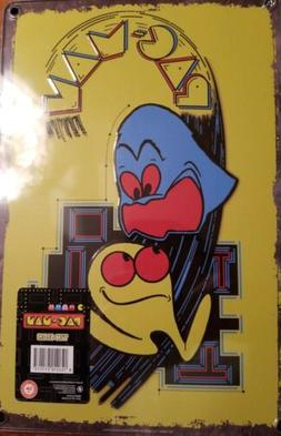 PAC-MAN yellow Metal Sign Wall Art Video Game for Game Room.
