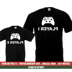 Player 1 2 XBOX T Shirts Dad Kids Funny Gaming Son Fathers D