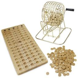 Premium Vintage Wooden Bingo Game w/Brass Cage, Cards, Balls