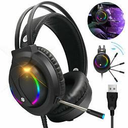 RGB Gaming Headset 7.1 Surround Soundgaming Mic Headphones F