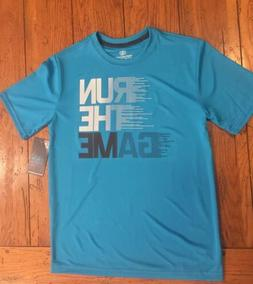 Run The Game Graphic Tee Shirt Boys Large 10-12 Blue Quick D