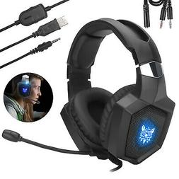 Stereo Gaming Headset LED Ergonomic Headphone for PS4 Xbox o